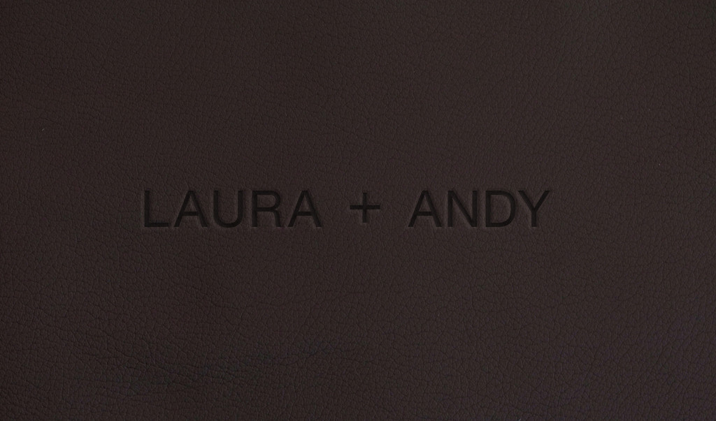 Futura Blind Embossing on Chocolate Leather